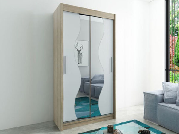 Armoire MADERA 2 portes coulissantes 100 cm sonoma/blanc