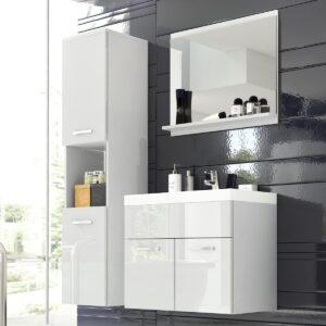 Salle de bain complète MONTELIO 4 portes blanc/blanc laqué avec vasque