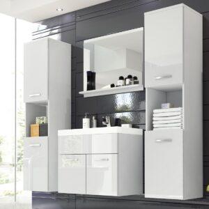 Salle de bain complète MONTELIO 6 portes blanc/blanc laqué avec vasque