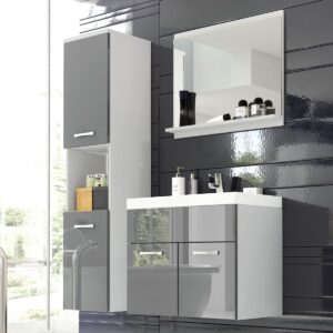 Salle de bain complète MONTELIO 4 portes blanc/gris laqué avec vasque