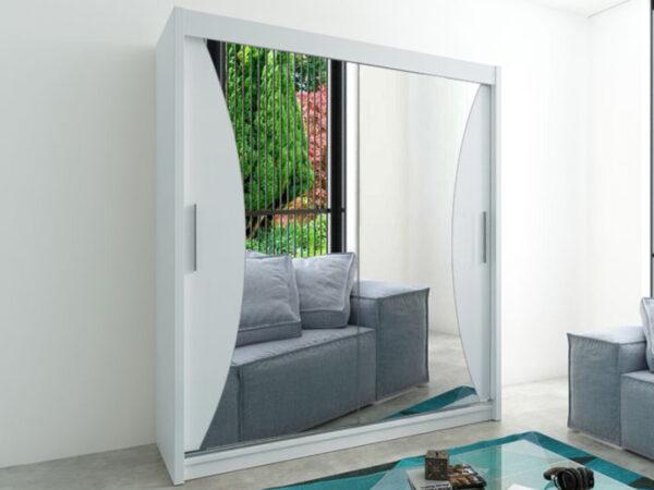 Armoire MONACORNE 2 portes coulissantes 180 cm blanc