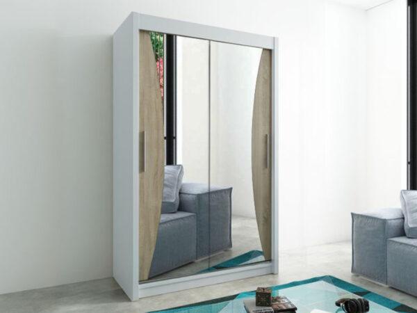 Armoire MONACORNE 2 portes coulissantes 150 cm blanc/sonoma
