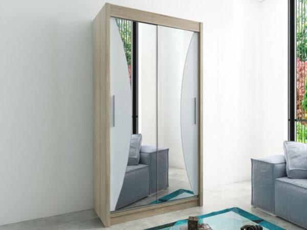 Armoire MONACORNE 2 portes coulissantes 120 cm sonoma/blanc