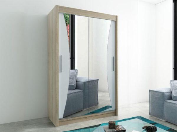 Armoire MONACORNE 2 portes coulissantes 150 cm sonoma/blanc