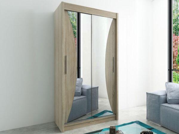 Armoire MONACORNE 2 portes coulissantes 100 cm sonoma