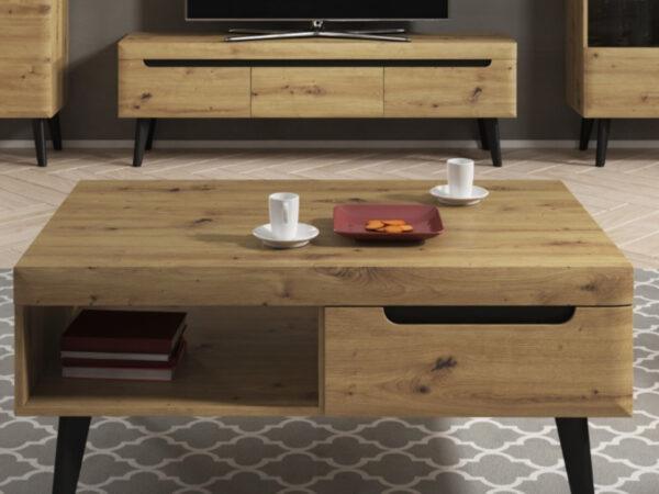 Table basse NORDO 1 tiroir 1 niche chêne artisan