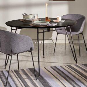 Table repas ronde extensible MILLY Ø 120 cm noir