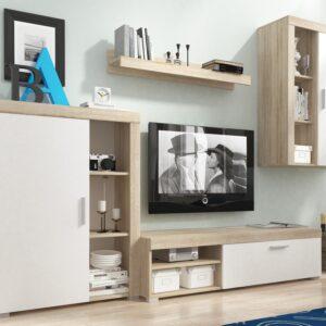 Mur TV OLIVIA 3 portes sonoma/blanc