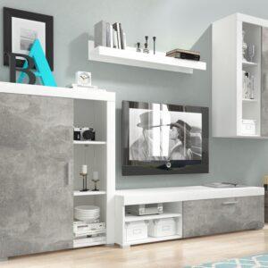 Mur TV OLIVIA 3 portes blanc/gris marbre