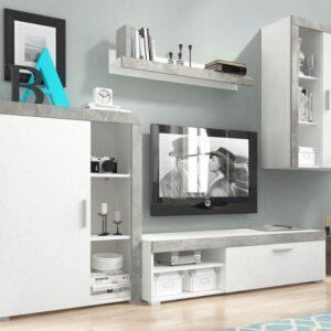 Mur TV OLIVIA 3 portes blanc/béton