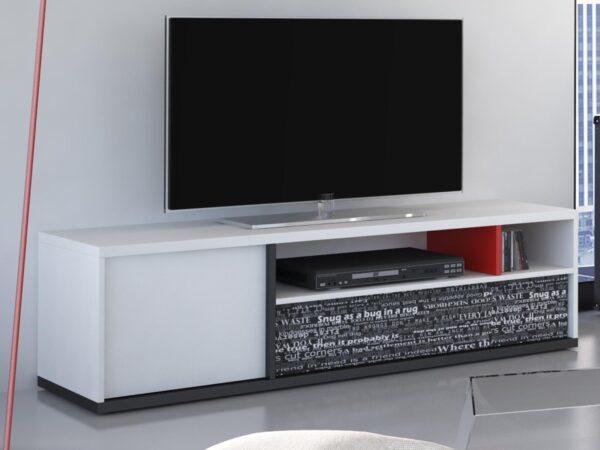 Meuble TV PHILOPY 1 porte 1 tiroir blanc graphite/ philosophie rouge