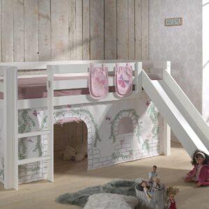 Lit enfant ALIZE avec toboggan 90x200 cm pin blanc tente Chateau