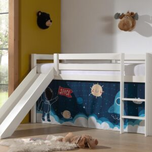 Lit enfant ALIZE avec toboggan 90x200 cm pin blanc tente Astro II