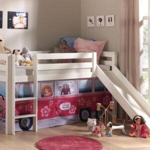 Lit enfant ALIZE avec toboggan 90x200 cm pin blanc tente Little Princess