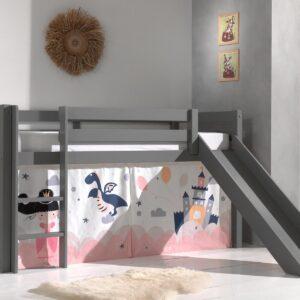 Lit enfant ALIZE avec toboggan 90x200 cm gris naturel tente Princess II