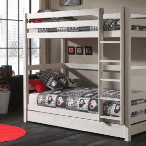 Lit enfant ALIZE superposé haut 90x200 cm pin blanc avec lit-tiroir