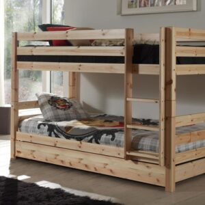 Lit enfant ALIZE superposé 90x200 cm pin naturel sans tente avec lit-tiroir