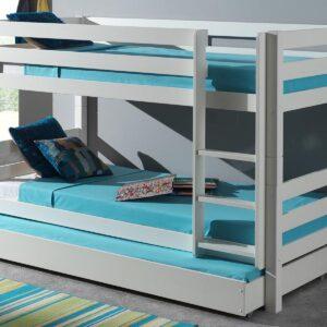 Lit enfant ALIZE superposé 90x200 cm pin blanc sans tente avec lit-tiroir