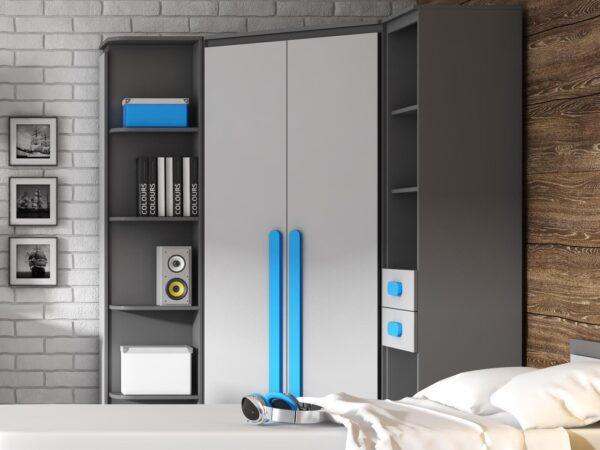 Armoire d'angle PLAYMOB 2 portes gris/bleu