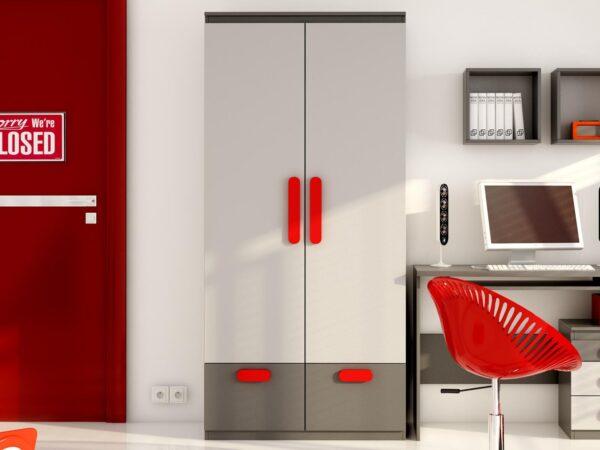 Armoire PLAYMOB 2 portes 2 tiroirs gris/rouge