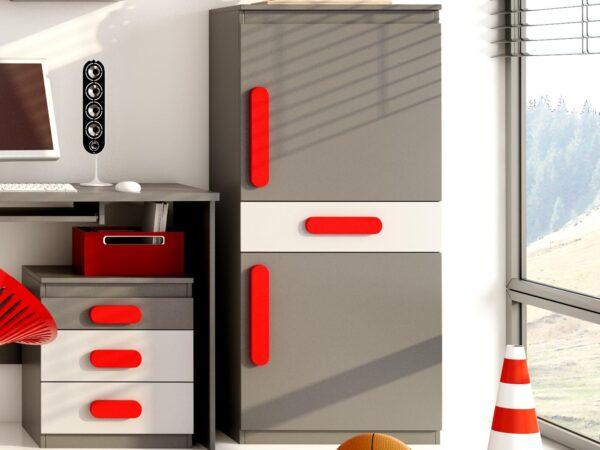 Armoire PLAYMOB 2 portes 1 tiroir gris/rouge