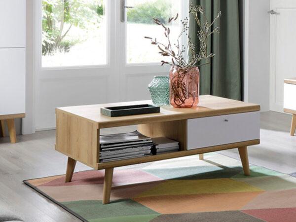 Table basse PROMI 107 cm chêne riviera/blanc