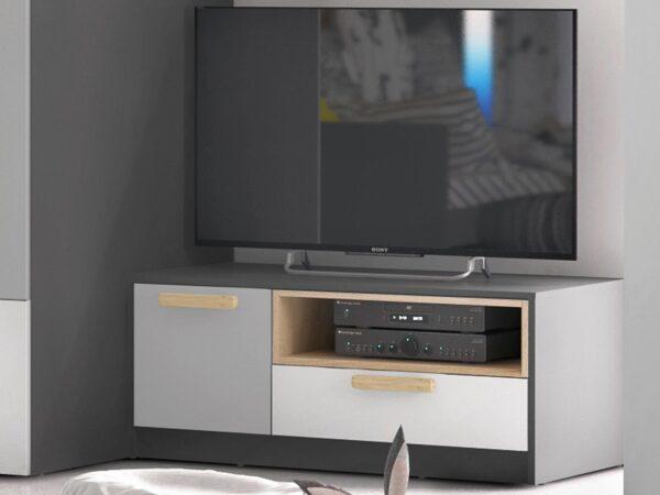 Meuble tv-hifi PIKA 1 porte 1 tiroir blanc/gris clair