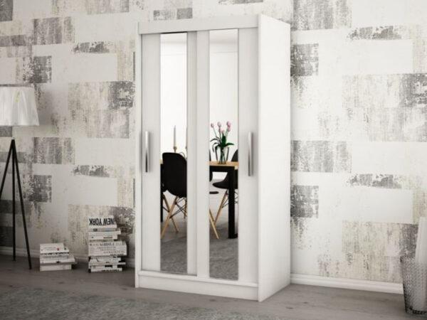 Armoire POLETTE 2 portes coulissantes 120 cm blanc