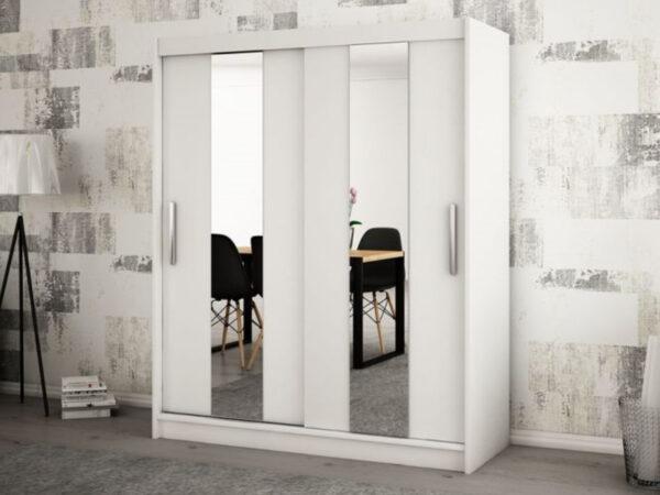 Armoire POLETTE 2 portes coulissantes 150 cm blanc
