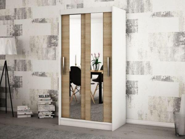 Armoire POLETTE 2 portes coulissantes 100 cm blanc/sonoma