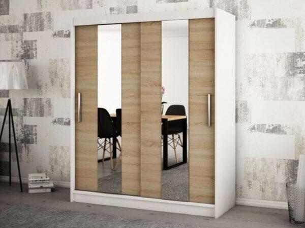 Armoire POLETTE 2 portes coulissantes 150 cm blanc/sonoma