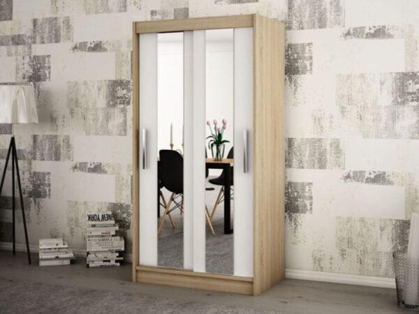 Armoire POLETTE 2 portes coulissantes 100 cm sonoma/blanc