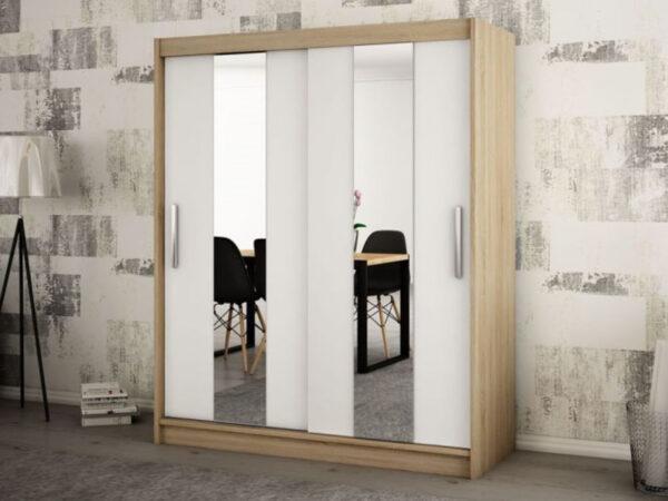 Armoire POLETTE 2 portes coulissantes 180 cm sonoma/blanc