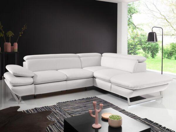 Canapé convertible PRESTANCE d'angle avec méridienne droite éco-cuir blanc