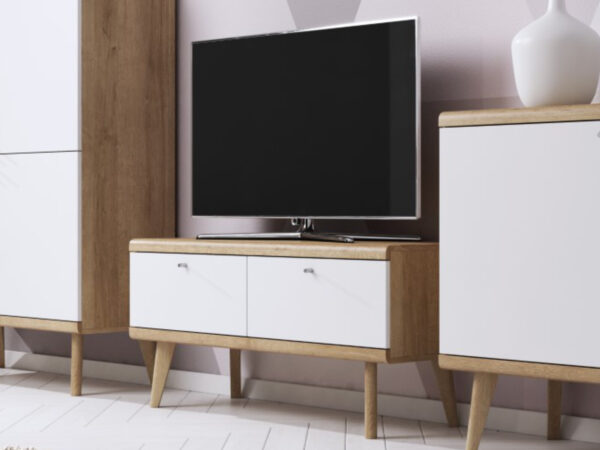 Meuble tv-hifi PROMI 2 portes chêne riviera/blanc