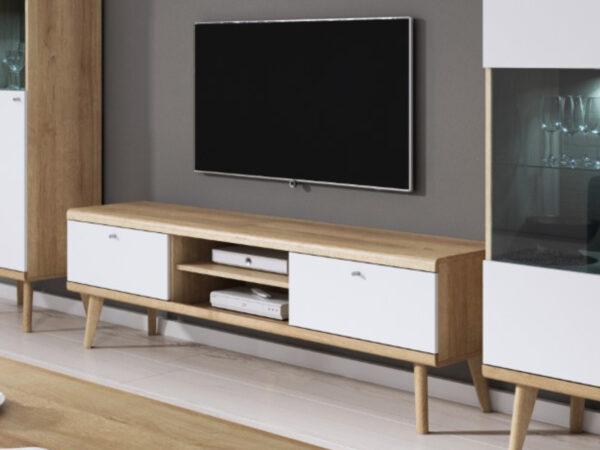 Meuble tv-hifi PROMI 2 portes 2 niches chêne riviera/blanc