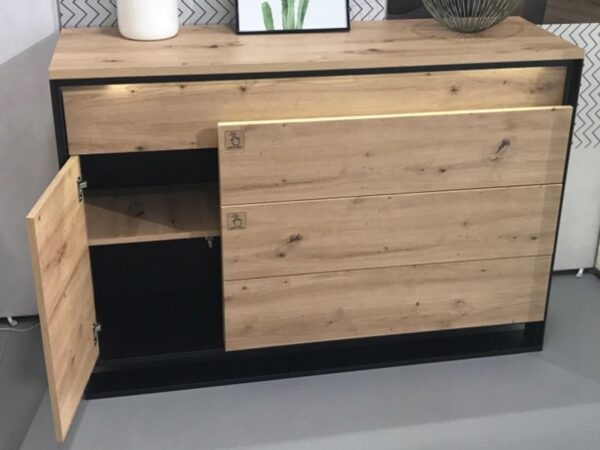 Buffet/bahut QUANTINO 1 porte 4 tiroirs chêne artisan/noir