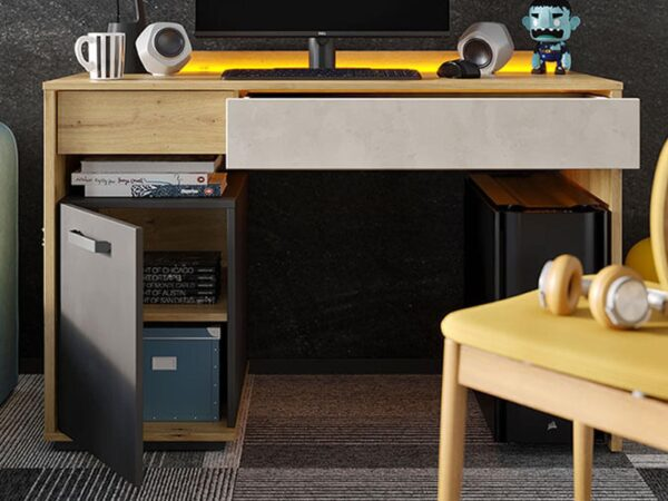 Bureau BIC 1 porte 2 tiroirs chêne artisan/gris soie