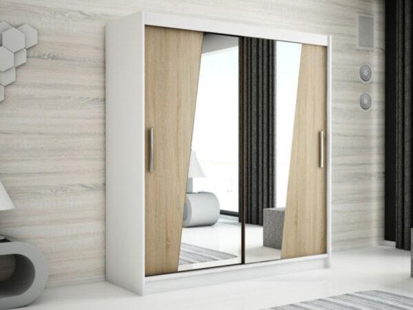 Armoire RHOMBO 2 portes coulissantes 200 cm blanc/sonoma