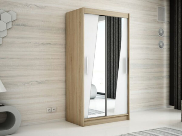 Armoire RHOMBO 2 portes coulissantes 100 cm sonoma/blanc