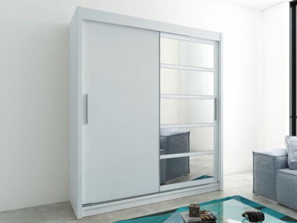 Armoire ROMANE 2 portes coulissantes 180 cm blanc