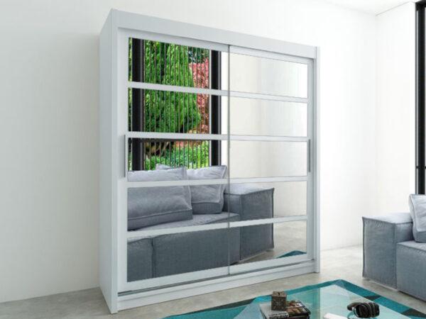 Armoire ROMELU 2 portes coulissantes 200 cm blanc