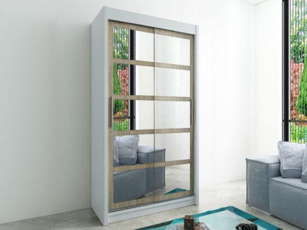 Armoire ROMELU 2 portes coulissantes 120 cm blanc/sonoma