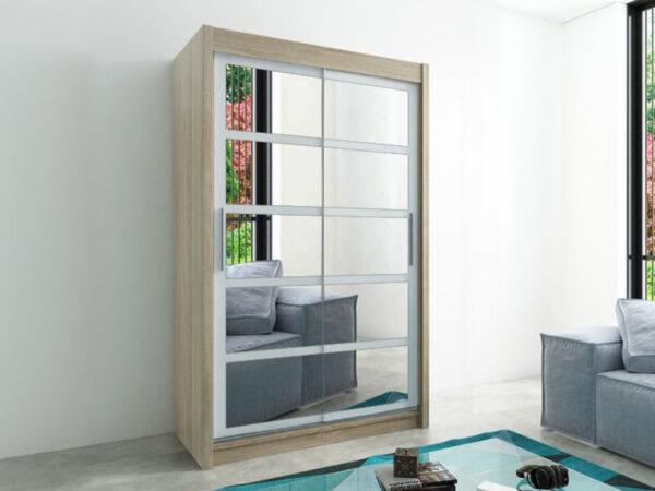 Armoire ROMELU 2 portes coulissantes 150 cm sonoma/blanc