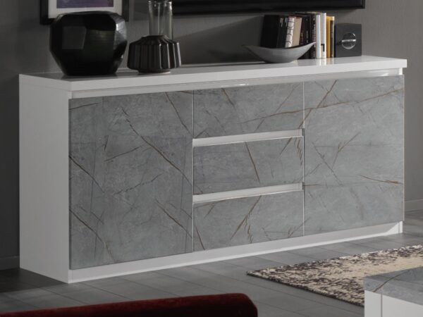 Buffet/bahut ROMEO 2 portes et 3 tiroirs marbre/blanc