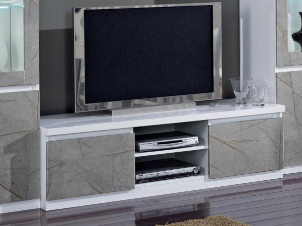 Meuble tv-hifi ROMEO 2 portes marbre/blanc