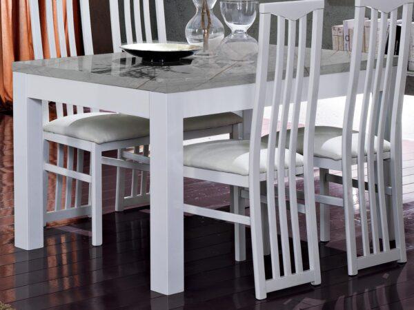 Table repas ROMEO 160 marbre/blanc