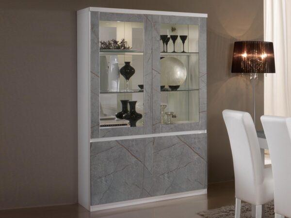 Vitrine ROMEO 4 portes marbre/blanc avec led