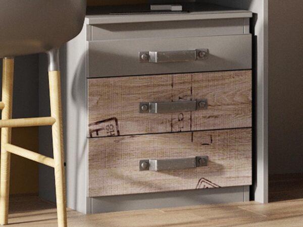 Caisson de bureau SANGRIA 3 tiroirs graphite/chêne santana