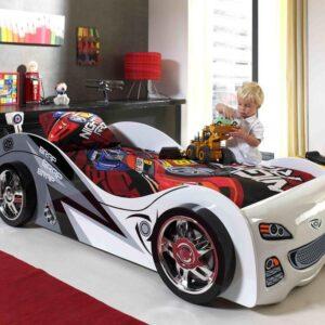 Lit enfant voiture BRANDON 90x200 cm blanc